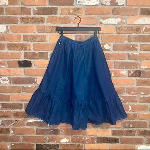 Vintage Sasson Denim High Waisted Prairie Skirt